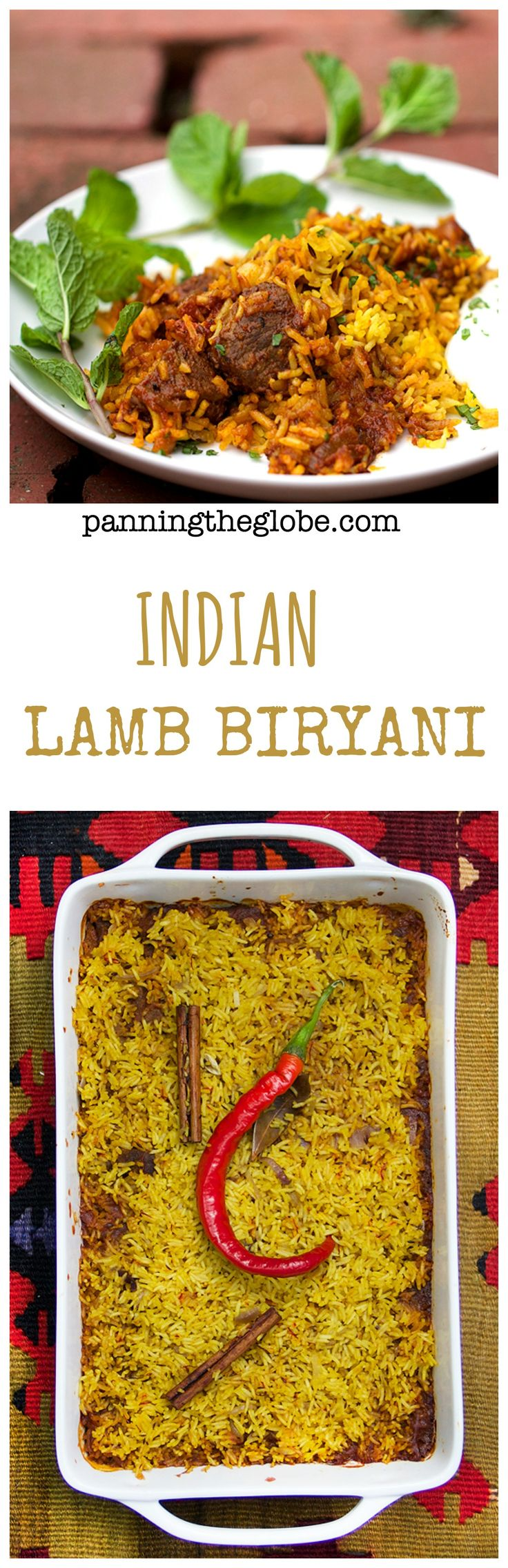 Lamb Biryani: Casserole of tender lamb curry with saffron spiced rice. Cucumber-mint raita on the side.