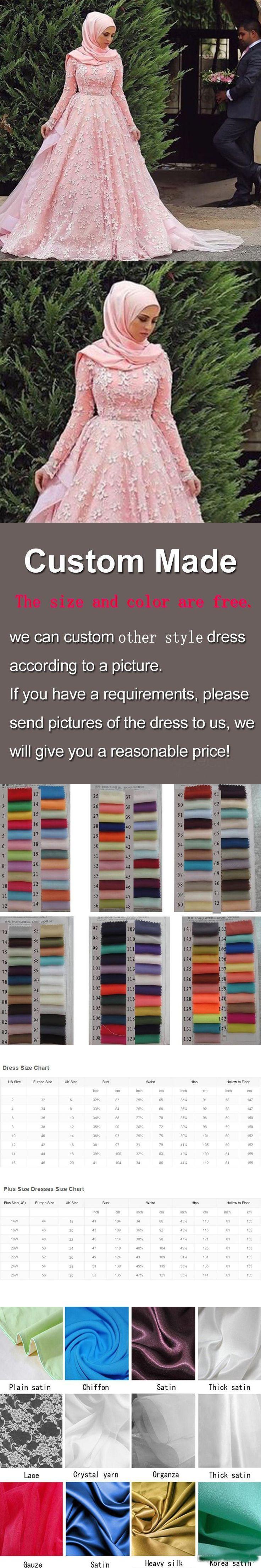 Muslim hijab Wedding Dresses 2016 Elegant A Line Pink Applique Lace Long Sleeve Long Plus Size china Bridal Gowns $299