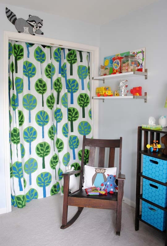 I like the fabric as a closet doorGuest Room, The Doors, Closet Doors, Closets Doors, Grey Nurseries, Kids Room, Vintage Room, Baby Room, Babies Rooms