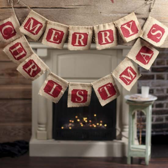 """Burlap Fabric """"Merry Christmas"""" Garland @ FDC - great site for discount Christmas decorations, esp garlands/tree fillers."""