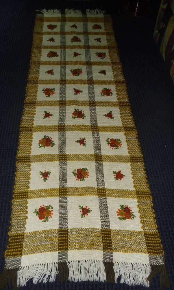 Vtg Wool Scandinavian Table Runner Hand Crewel Embroidered Floral Motif Swedish