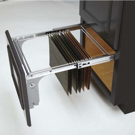 organize your legal and letter sized folders using this pullout file drawer system from
