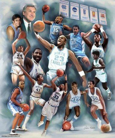 """""""Dean's Dream Team"""" by Wishum Gregory. Wow...Dean Smith coached so many great athletes and future hall of famers while he was the head coach of UNC Tarheel Basketball."""