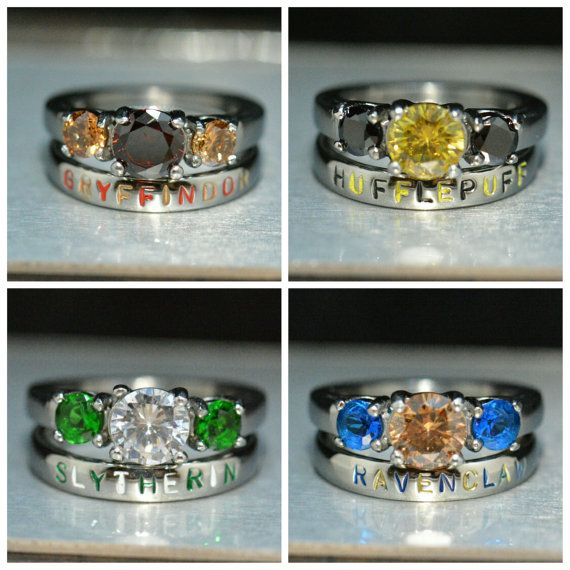 Harry Potter House Colors inspired 2 piece ring set, Harry Potter Ring,Slytherin,Gryffindor,Hufflepuff,Ravenclaw, Stainless Steel Choice Set