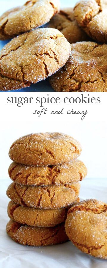 Sugar spice cookies: soft and chewy, ginger and molasses laced cookies. Perfect for the holidays! Recipe via MonPetitFour.com