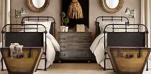 Acadamie twin bed, Restoration Hardware I think this could be made into a really fun look for an older kids room...plus two twin beds is perfect for sleepovers.