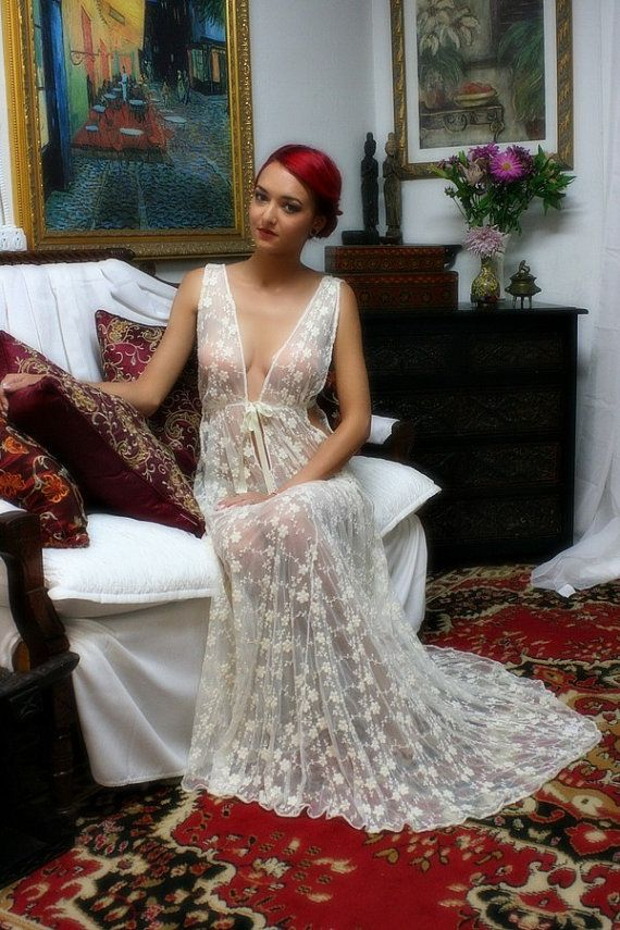 Heirloom Lace Bridal Nightgown Embroidered Ivory by SarafinaDreams