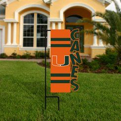 Miami Hurricanes 18'' x 10'' Cut-Out One-Sided Garden Flag - Orange/Green