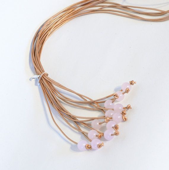 Sweet pink combinations in copper long lariat by Cardoucci on Etsy