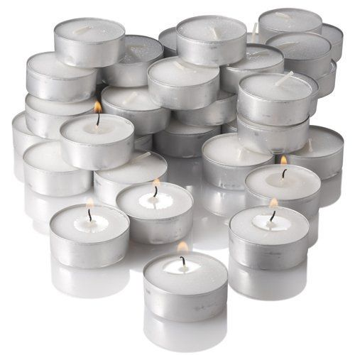 Tealight Candles White Unscented Set of 125: The Tealight Candle is a self-contained, versatile little candle. It's efficient and very inexpensive . The Tealights featured here are compression molded and set in aluminum cups with 100% cotton wicks. Our Unscented Tealight Candles are a great value and perfect for weddings, restaurants and parties. They can be used in potpourri burners, food warmers or any standard Glass Tealight Holder..... Click Image For more Details