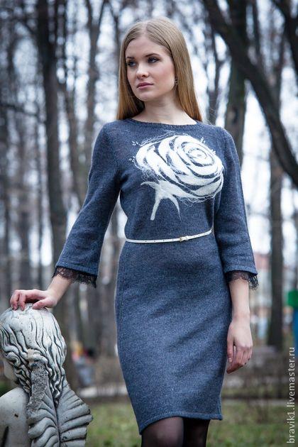 """платье """"Белая роза"""" - Валяние,платье,вязаное платье,ручная работа handmade"""