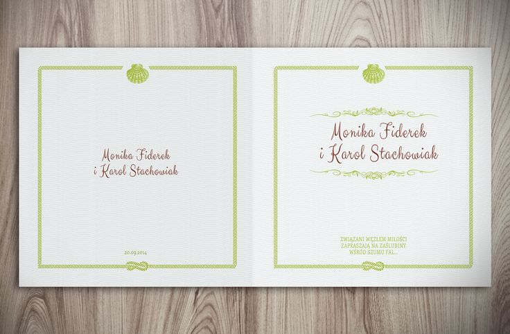 Zaproszenie ślubne z motywem morskim nautical wedding invitation green wedding invitation