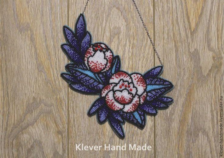 """Создаем колье из бисера """"Синие цветы"""" - Ярмарка Мастеров - ручная работа, handmade"""