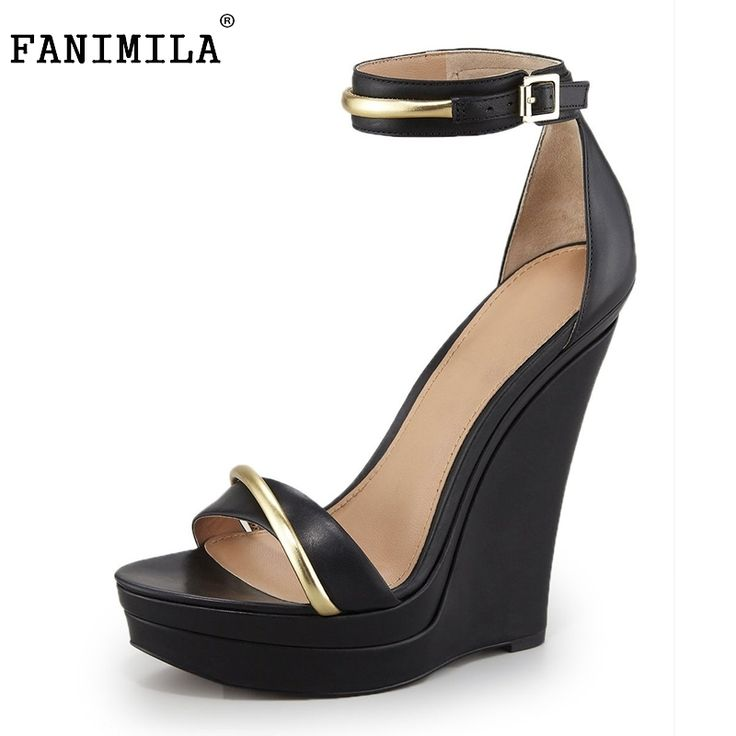 58.64$  Watch now - http://aliq9a.worldwells.pw/go.php?t=32697345919 - Women Fashion Ankle Strap Lady Shoes Wedges High Heels Platform black bow Pumps tenis feminino sapato feminino Size 35-46 B043 58.64$