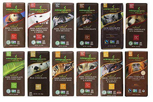 Endangered Species Chocolate Variety Pack 12 Flavors (Pack of 12) -------------(Dark Chocolate with Cinnamon Cayenne, Dark Chocolate with Sea Salt & Almonds, Dark Chocolate with Cherry, Tiger Dark Espresso Beans, Rain Forest Dark Mint, Grizzly Dark Raspberry, Wolf Dark Cranberry Almond, Sea Otter Milk Chocolate, Chimpanzee Dark Chocolate, Hazelnut Toffee, Panther Extreme Dark Chocolate, Artic Fox with Pumpkin Spice) - http://bestchocolateshop.com/endangered-species-chocol
