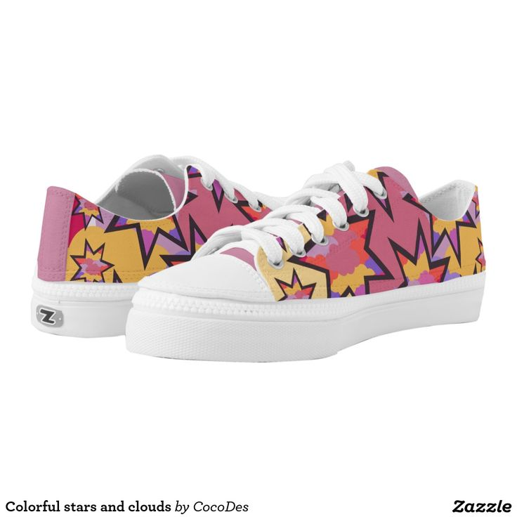 Colorful #stars and #clouds printed #shoes #sneakers #footwear #zazzle