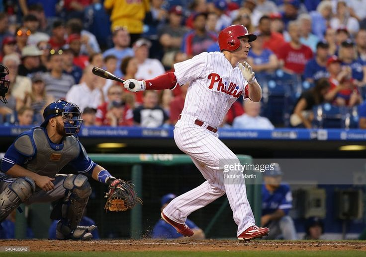 Cody Asche #25 of the Philadelphia Phillies hits an RBI double in the fourth inning during a game against the Toronto Blue Jays at Citizens Bank Park on June 15, 2016 in Philadelphia, Pennsylvania.