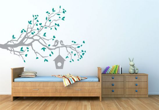 Wall Stickers - Loving Sparrows with a Bird House Wall sticker