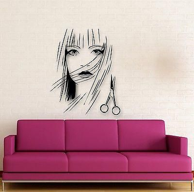 Wall Stickers Vinyl Decal Beautiful Girl Scissors Hairdresser Hairstyle Unique Gift (ig1733)