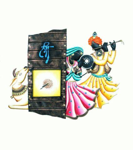Buy Radha kishan & cow iron wall hanging clock, easy online shopping