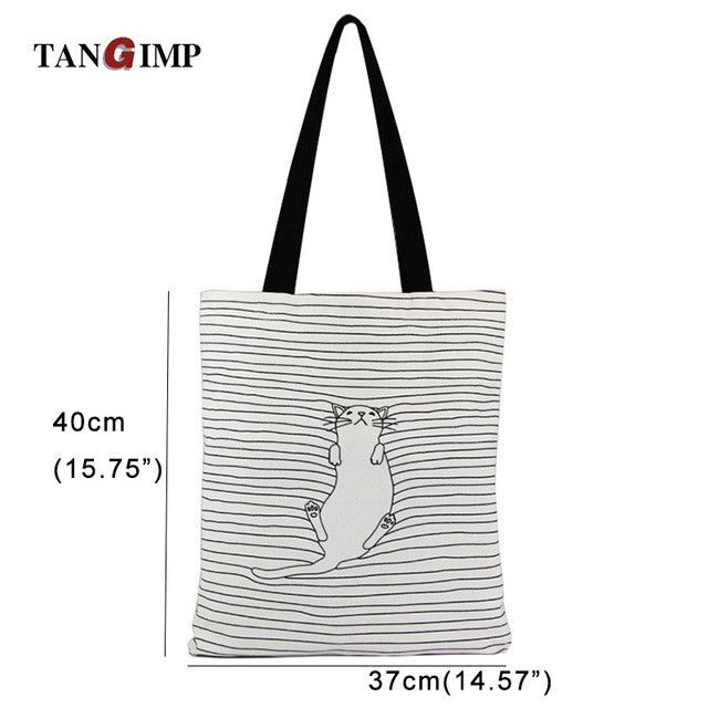 Cute Striped Napping Cat Cotton Canvas Handbags