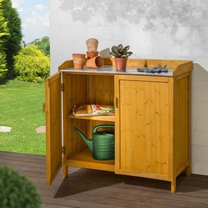 COFFRE D'EXTÉRIEUR Meuble de Rangement Armoire Commode de Jardin Bas en Bois avec 1 Plateau 98 cm x 48 cm x 95 cm Marron TECTAKE