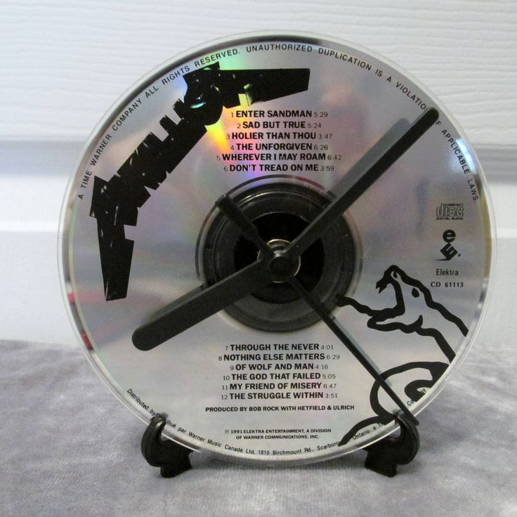 Metallica CD Clock Heavy Metal Decor - Black Album by DarkStormDesign on Etsy