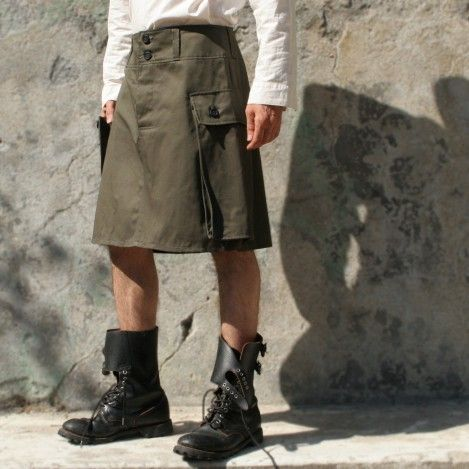 military cut menskirt with a high pocket made in france #contemporary fashion #design #army #menswear