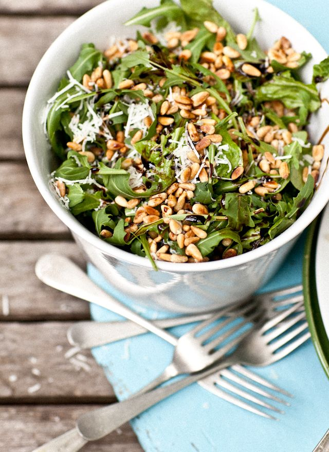 Simple Rocket (arugula) salad with pine nuts, Pecorino and Balsamic