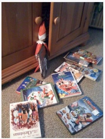 Easy and Creative Elf on the Shelf Ideas - chistmas movie night