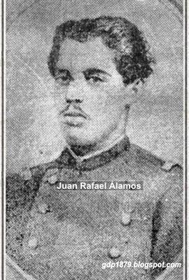 Juan Rafael Alamos Quiroz , Nació en Santiago el 15 de Agosto de 1859. Fueron sus padres don Benito Alamos y doña Juana Quiroz. Al iniciarse la Guerra del Pacifico fue llamado al servicio como subteniente del 4º de linea.  Participa en el combate de Calama,  toma de Pisagua, Dolores y en Tacna.   Tomado del blog de Jonatan Saona http://gdp1879.blogspot.com/2010/#ixzz4lPU8HFiu