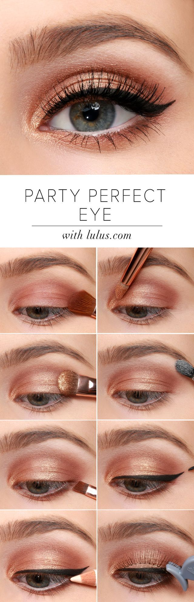 Your party calendar is full, you've picked out the dress, now it's time to top off your look with our Party Perfect Eye Makeup Tutorial! Shimmering golds and a sleek black cat eye are the perfect pair