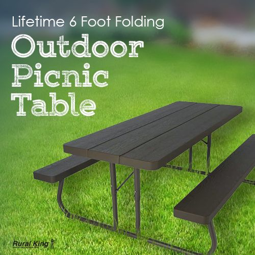 The Lifetime 6' Picnic Table gives you that perfect extra outdoor eating space you've always wanted! Visit your nearest #RuralKing store or check us out online www.ruralking.com. #outdoors #picnictable #cookouts #summertime