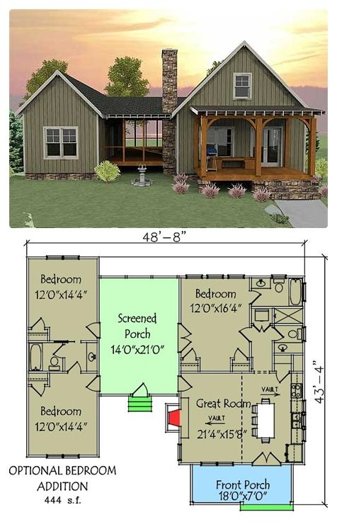 """This unique vacation house plan has a unique layout with a spacious screened porch separating the optional 2-bedroom section from the main part of the house."""