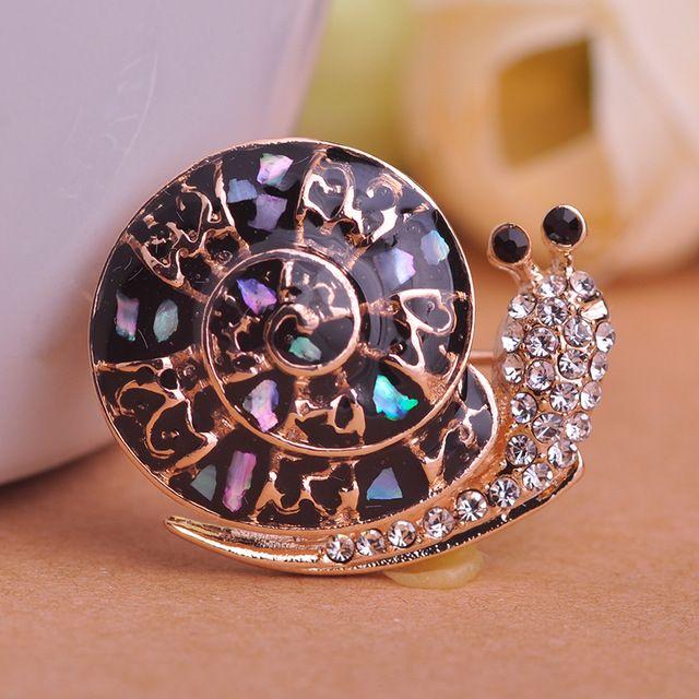 Lumache blucome abalone shell spilla regali di natale nero spille accessori donna placcato oro perni in acciaio inox corpetti