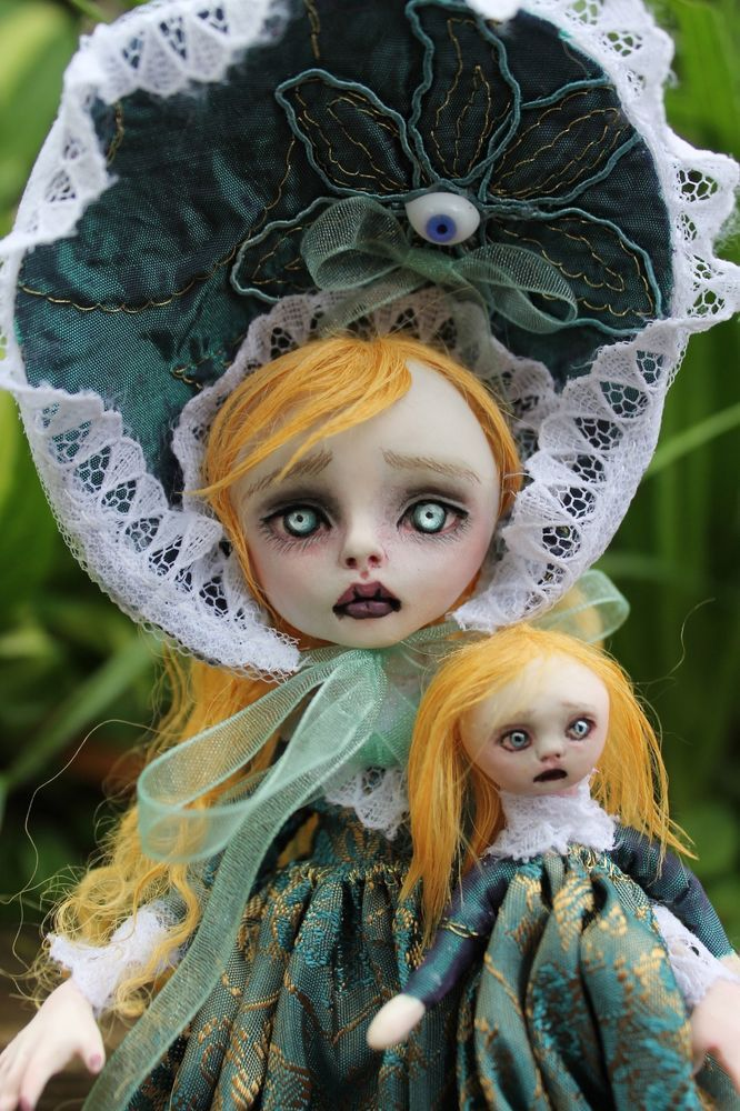 ooak art doll horror goth Claire Voyance Lil' Poe collection A. Gibbons fairy
