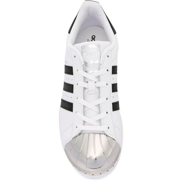 Adidas Superstar 80's sneakers ($120) ❤ liked on Polyvore featuring shoes, sneakers, laced up shoes, 80s sneakers, leather flat shoes, black and white shoes and metallic sneakers