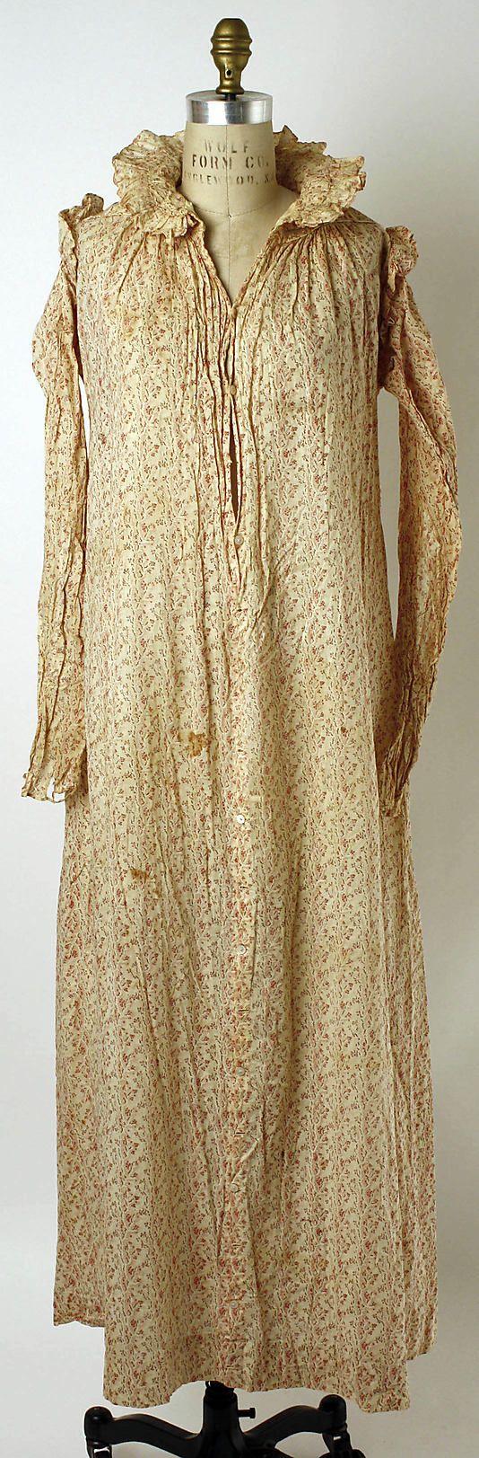 Dressing gown Date: ca. 1819 Culture: American Medium: cotton