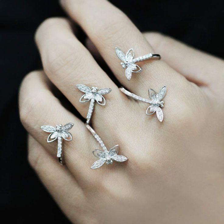 """Twilight"" Diamond Three Finger Ring - Plukka - Shop Fine Jewelry Online"