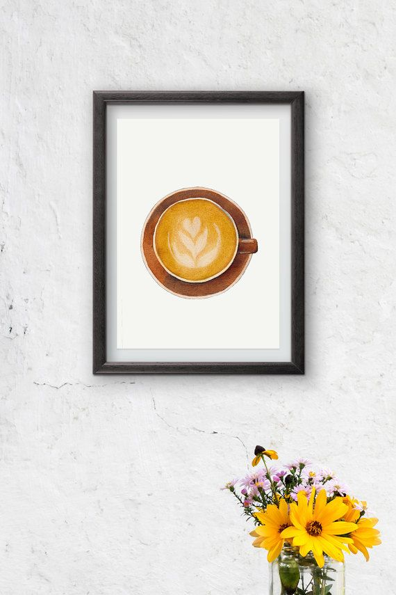 Coffee cup  Watercolor painting  instant digital by Penfood.  This is our first listing in our new Etsy shop.  This item could be used to decorate kitchen walls