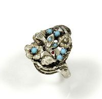 ANTIQUE VICTORIAN STERLING BIRD TURQUOISE GLASS RING