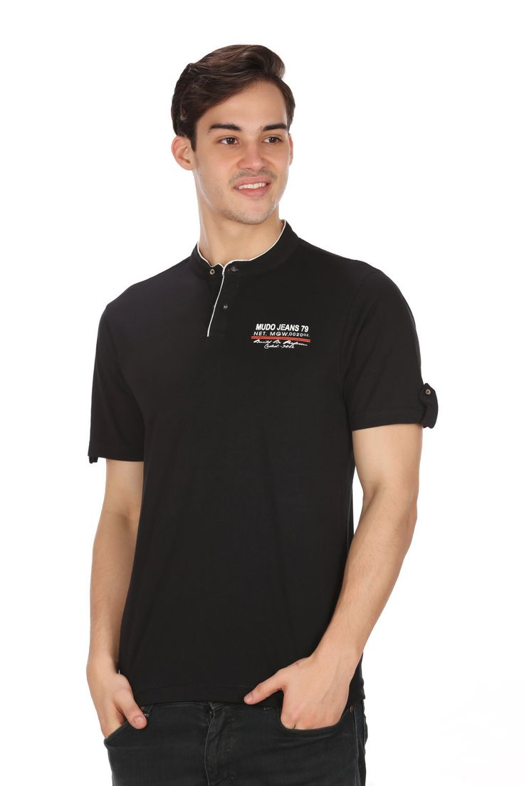 MUDO Solid Black Fashion Henley Tee with stylish Applique