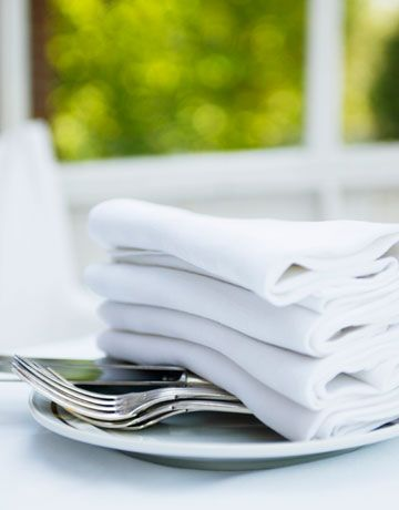 """""""Crispy ironed linens! There is nothing so luxurious as to sit at a table with a lovely ironed tablecloth and spread an ironed napkin over your lap.""""  —Barbara Barry, Designer"""