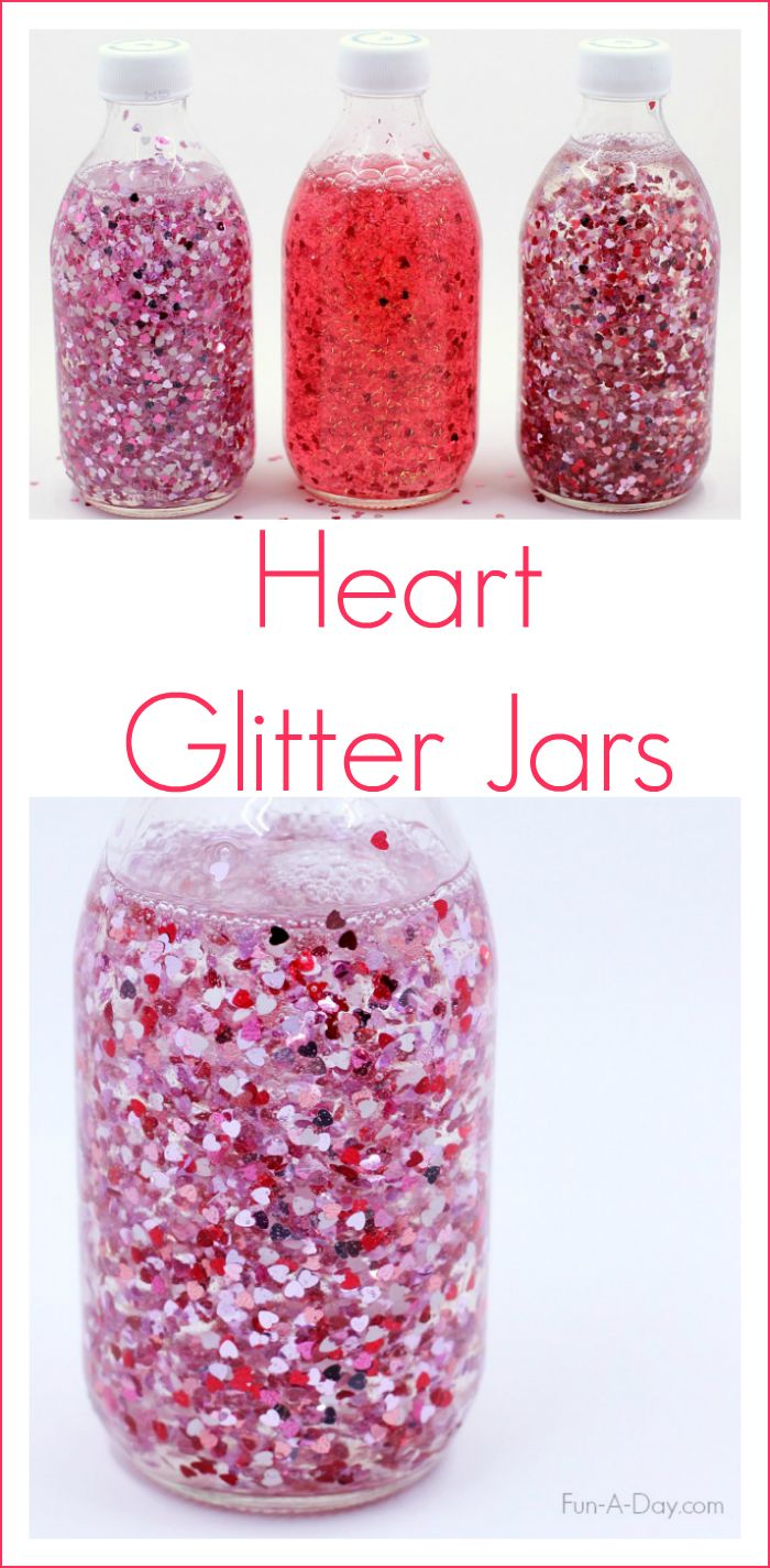Make a glitter jar for Valentine's Day using heart-shaped glitter - two different ideas for making these sensory bottles (Toddler Valentins Day Party)