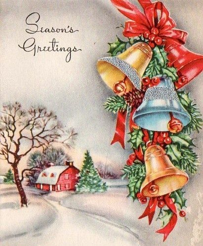 """I adore these lovely """"little pieces of art"""" sent to a special someone or family members during Christmastime.  This style, sent not all that long ago, but how different the cards look today."""