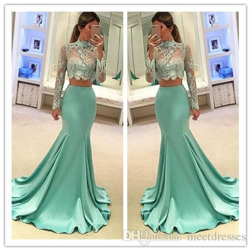 2017 Hot Style Long Sexy two Pieces Prom Dress with Long Sleeves Prom Dress Lace Bodice Evening Gowns