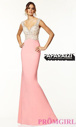 Floor Length Mori Lee Dress with Bead Embellished Bodice at PromGirl.com