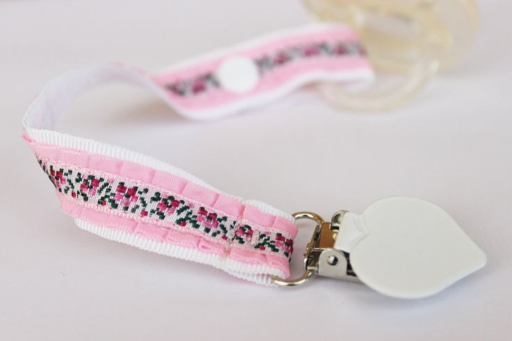 Sweet Pink Pacifier clip, Soothie pacifier, Baby pacifier clip, Embroidery…