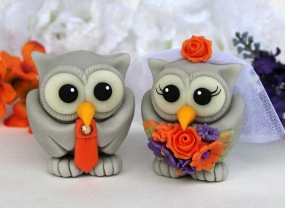 Wedding owl cake topper, personalized love birds, fall cake topper, burnt orange purple wedding