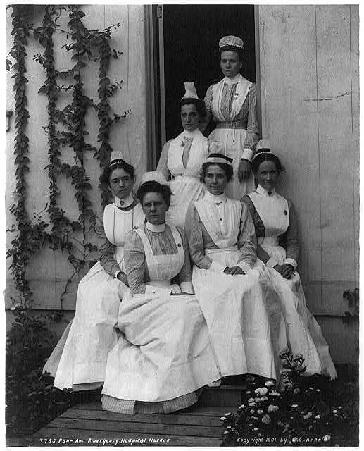 Pan American emergency hospital nurses 1901. They look like they're having the BEST DAY EVER!